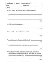 Lernnachweis Materialkunde Holz 7.-8. Klasse