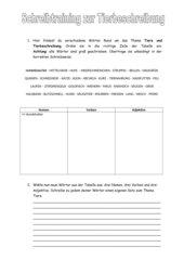 Tierbeschreibung: Schreibtraining