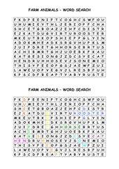 farm animals - word search