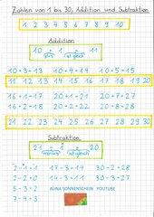 Zahlen 1-30 - Addition - Subtraktion -mit Video