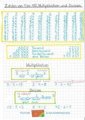Zahlen 1 - 100 - Zahlen A1 - Multiplikation - Division - AB mit Video