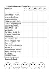 Bewertungsbogen für eine Mappe