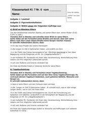 Klassenarbeit zur Lektüre Löcher von Sachar