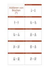Arbeitskarteien zur Addition von Brüchen
