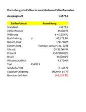 Verschiedene Zahlenformate - Excel