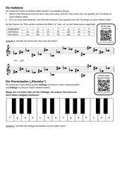 Halbtöne (Vorzeichen) und Klaviatur (Klaviertasten)