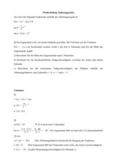 Übungen Änderungsrate / Ableitungen