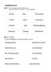 Leseblatt zum G und Lesequiz zur Karibufibel S. 58 / 59 G
