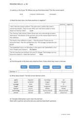 Worksheet - Reading skills