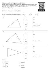 Arbeitsblatt allgemeines Dreieck / Flächeninhalt