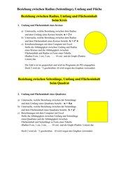 Beziehung zwischen Radius (Seitenlänge), Umfang und Fläche