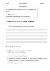 Satzglieder - Subjekt bestimmen und Aussagesätze bilden