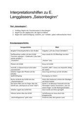 Interpretationshilfen zu E. Langgässers