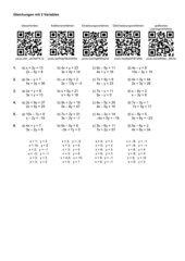 Arbeitsblatt Gleichungen mit 2 Variablen