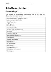 Satzanfänge Ich-Geschichte