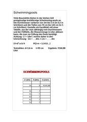 Schwimmbecken - Volumen - Excel