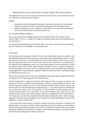 Analyse eines Prosatextes: Die Verwandlung von Franz Kafka