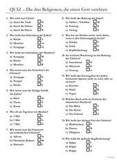 Quiz Weltreligionen