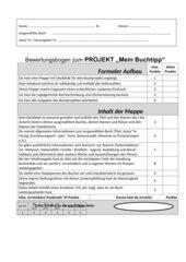 Bewertungsbogen - Projekt: Mein Buchtipp