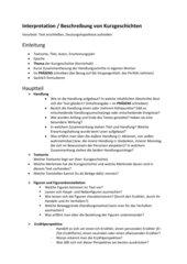 Kurzgeschichten interpretieren Anleitungsblatt - Hauptschulabschluss