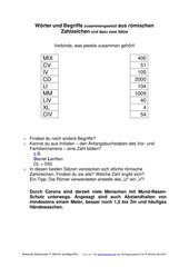 Römische Zahlzeichen 2:  Wörter, Begriffe und Sätze