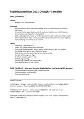 Lernplan Realschulabschluss Deutsch