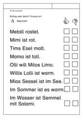Leseübungsblatt zur Fibel 'Mimi die Lesemaus' Bayern  ab Ww - Sätze richtig/falsch