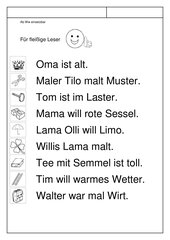 Leseübungsblatt zur Fibel 'Mimi die Lesemaus' Bayern--ab Ww - Sätze