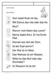 Leseübungsblatt zur Fibel 'Mimi die Lesemaus' Bayern ab Dd - Sätze