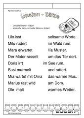 Leseübungsblatt zur Fibel 'Mimi die Lesemaus' Bayern ab Dd - Unsinnssätze