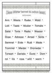 Leseübungsblatt zur Fibel 'Mimi die Lesemaus' Bayern - ab Dd  - Wörter