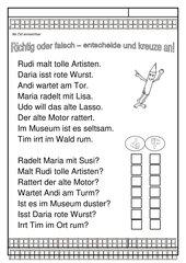 Leseübungsblatt zur Fibel 'Mimi die Lesemaus' Bayern - ab Dd - Sätze+FRagen