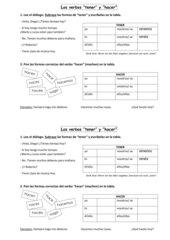 Los verbos tener y hacer
