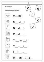 Leseübungsblatt zur Fibel 'Mimi die Lesemaus' Bayern ab Nn - Lückenwörter Vokale