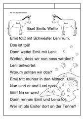 Leseübungsblatt zur Fibel 'Mimi die Lesemaus' Bayern ab Sch/sch - Tiergeschichte