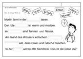 Leseübungsblatt zur Fibel 'Mimi die Lesemaus' Bayern ab Sch/sch - 6 Lückensätze