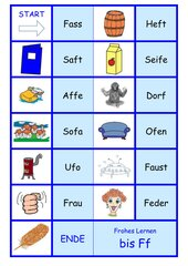 Frohes Lernen ab Ff  -  Domino Wort-Bild