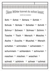 Leseübungsblatt zur Fibel 'Mimi die Lesemaus' Bayern ab  Schsch-   Wörter