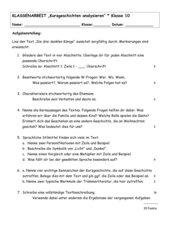 Klassenarbeit zur Kurzgeschichte
