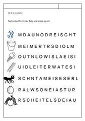 Leseblatt zur Fibel 'Mimi die Lesemaus' Bayern ab Ei ei - Wortsuche