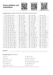 Arbeitsblatt Terme addieren und subtrahieren