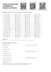 Arbeitsblatt Terme multiplzieren und dividieren - Binom mal Monom