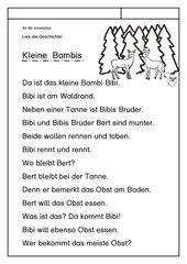 Leseübungsblatt zur Fibel 'Mimi die Lesemaus' Bayern ab Bb einsetzbar - Tiergeschichte