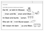 Leseübungsblatt zur Fibel 'Mimi die Lesemaus' Bayern ab Bb einsetzbar - Buchstaben ergänzen