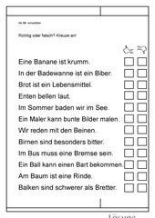 Leseübungsblatt zur Fibel 'Mimi die Lesemaus' Bayern ab Bb einsetzbar - Richtig oder falsch