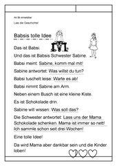 Leseübungsblatt zur Fibel 'Mimi die Lesemaus' Bayern - ab Bb einsetzbar - Geschwister-Geschichte