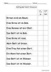 Frohes Lernen ab Bb  --  Sätze richtig oder falsch