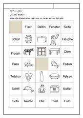 Leseübungsblatt zur Fibel 'Mimi die Lesemaus' Bayern - ab Ff einsetzbar - Wort-Bild-Zuordnung