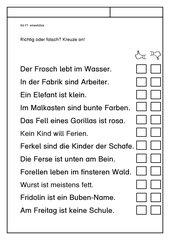 Leseübungsblatt zur Fibel 'Mimi die Lesemaus' Bayern - ab Ff - Falschaussage oder Wahrheit