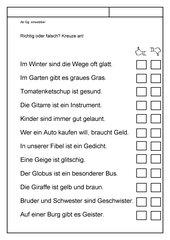 Leseübungsblatt zur Fibel 'Mimi die Lesemaus' Bayern - ab Gg einsetzbar - Richtig oder falsch